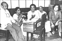 Indeevar, Asha Bhosle, Kishore Kumar, Sameer's father Anjaan and Bappi Lahiri