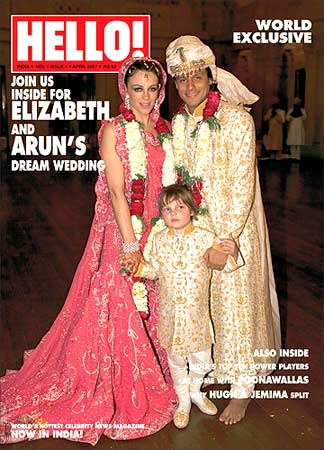 Liz Hurley and Arun Nayar on the cover of the new Hello magazine