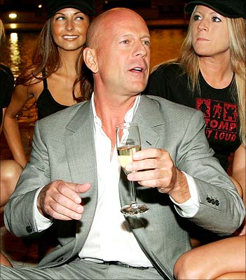 Bruce Willis, in great spirits