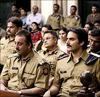 Sanjay Dutt, A A Khan and Arbaaz Khan in Shootout At Lokhanwala