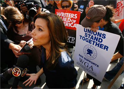 Desperate Housewives star Eva Longoria addresses the media outside the sets of the show as the Writer's Guild goes on strike