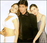Madhuri Dixit, Shah Rukh Khan and Karisma Kapoor in DTPH