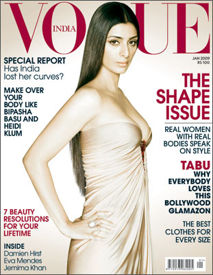 Tabu's Super Hot Cleavage Show during the Photoshoot of the Jan 2009 issue of Vogue Magazine...
