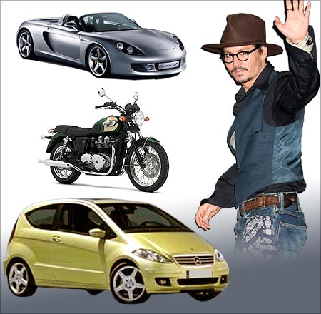 Johnny Depp, and his vehicles