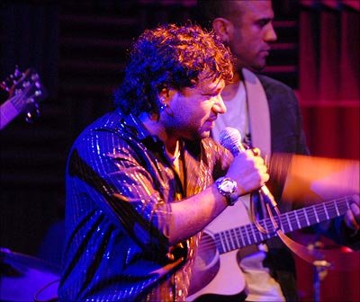 Kailash Kher performing at a concert in New York