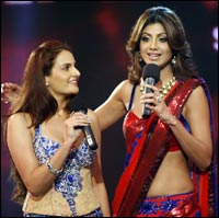 Monica Bedi and Shilpa Shetty
