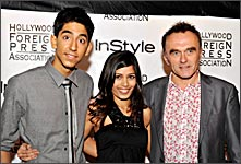 Dev Patel, Freida Pinto and Danny Boyle