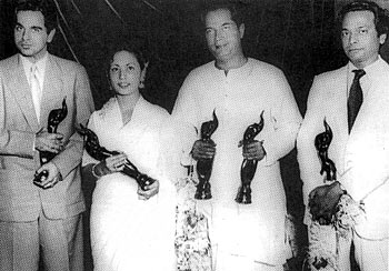 Dilip Kumar, Meena Kumari, Bimal Roy and Naushad at the Filmfare Awards in 1953