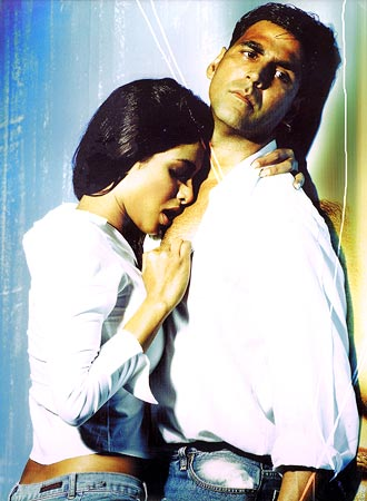 Priyanka Chopra and Akshay Kumar in a scene from Aitraaz