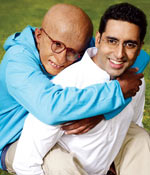 Amitabh and Abhishek in a scene from Paa