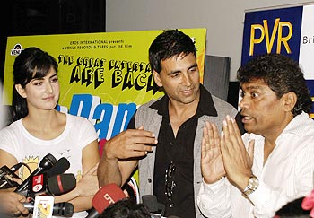 Katrina Kaif, Akshay Kumar and Johnny Lever