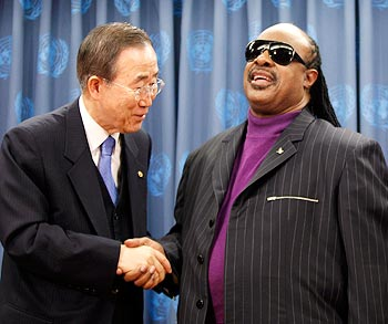 Ban Ki-moon and Stevie Wonder