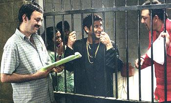 Rajkumar Hirani with Arshad Warsi and Sanjay Dutt