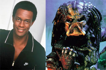 Left: Kevin Peter Hall. Right: As the Predator in Predator