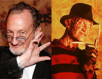 Left: Robert Englund. Right: As Freddy in A Nightmare on Elm Street
