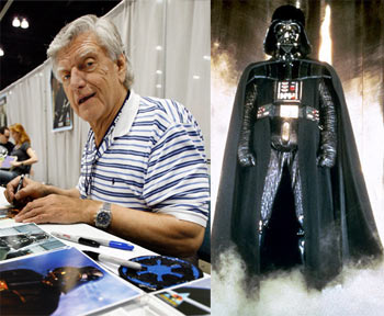 Left: David Prowse. Right: As Darth Vader in Star Wars