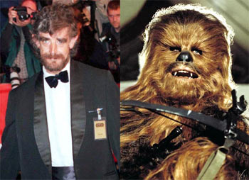 Left: Peter Mayhew. Right: As Chewbacca in Stars Wars