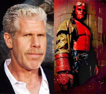 Left: Ron Perlman. Right: As Hellboy in Hellboy