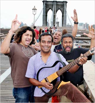 Indian Ocean, from left, Amit Kilam, Asheem Chakravarty, Susmit Sen and Rahul Ram at the Brooklyn Bridge in New York.