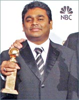 Rahman poses with his Golden Globe award