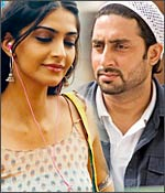 Sonam Kapoor and Abhishek Bachchan in a scene from Delhi 6