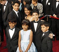 The young cast of Slumdog Millionaire at the red carpet