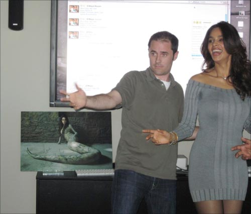 Mallika Sherawat with Twitter CEO Evan Williams
