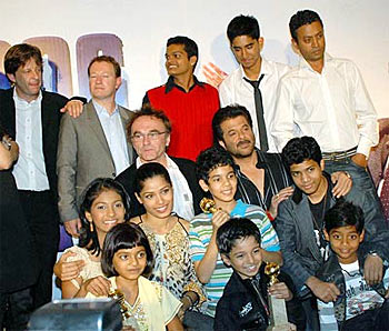 The cast and crew of Slumdog Millionaire