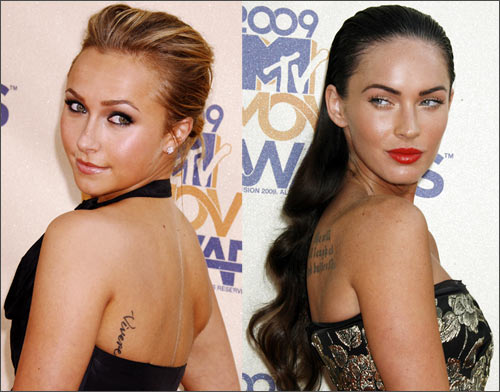 Actresses Hayden Panettiere and Megan Fox