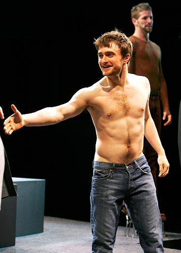 Daniel Radcliffe during a curtain call of the play <I>Equus</I> in New York