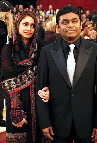A R Rahman and his wife Saira at the Oscar Awards Ceremony