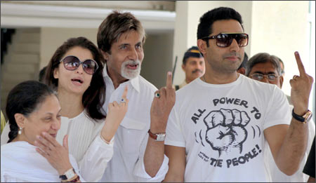 From left: Jaya Bachchan, Aishwarya, Amitabh and Abhishek after casting their votes