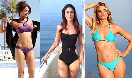 Amrita Arora, Kareena Kapoor, Denise Richards in Kambakkht Ishq. Inset Sabbir Khan