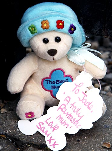 A bear and note are left outside the residence of reality television star Jade Goody