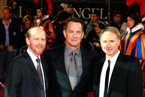 Director Howard, Tom Hanks and author Dan Brown