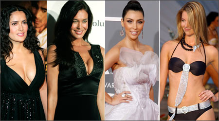 From left: Salma Hayek, Megan Gale, Kim Kardashian and Jennifer Hawkins