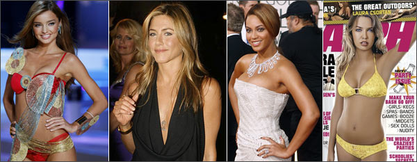 From left: Miranda Kerr, Jennifer Aniston, Beyonce and Lara Bingle