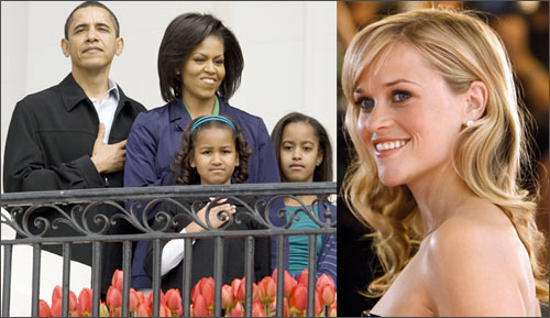 US President Barack Obama and family, and Reese Witherspoon