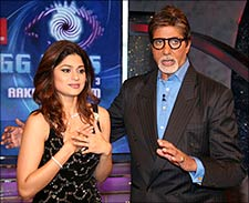 Shamita Shetty and Amitabh Bachchan. Image: Manav Manglani/ Reuters