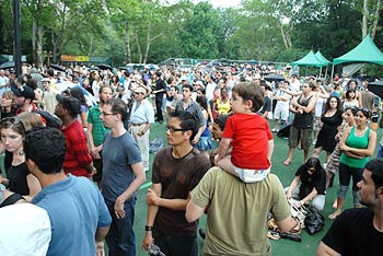 Fans catch the band in action in New York's Central Park