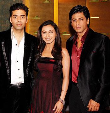 Karan Johar, Rani Mukherji and Shah Rukh Khan