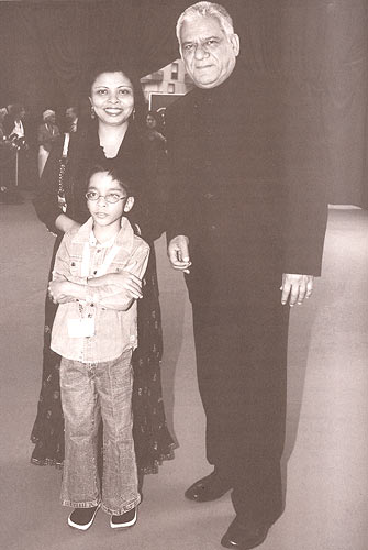 Om Puri, Nandita Puri and their son, Ishaan walking the red carpet at the Monte Carlo festival in 2006