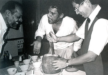 Shyam Benegal (left) cracks up as Om Puri (middle) comments on the pumpkin soup they have ordered