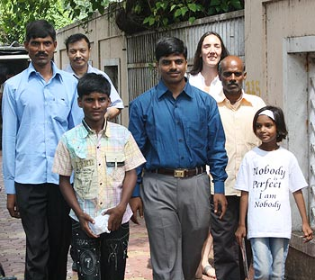 Dr Subodh Singh (second from left), Ghutaru, social worker Prakash, director Megan Mylan and Pinki (exteme right)