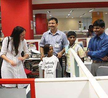 Megan Mylan, Dr Subodh, Pinki, Ghutaru and Prakash