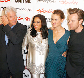 Richard Gere, Mira Nair, Hilary Swank and and Ewan McGregor at the premiere of their film Amelia in New York.