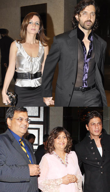 Top: Suzanne and Hrithik Roshan. Below: Subhash Ghai, wife Rehana and Shah Rukh Khan