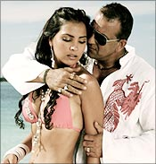 Lara Dutta and Sanjay Dutt in a scene from Blue