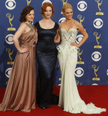 Cast of Mad Men Elizabeth Moss, Christina Hendricks and January Jones.