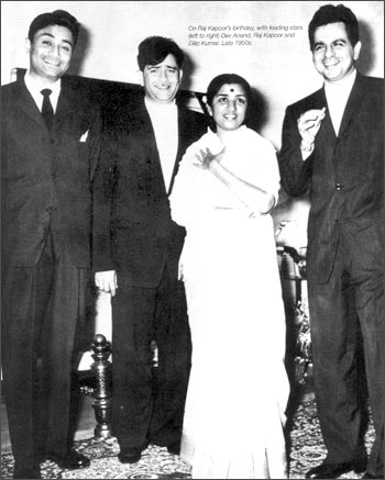 Lata Mangeshkar with Dev Anand, Raj Kapoor and Dilip Kumar